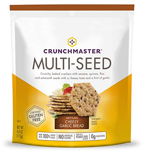 Crunchmaster Multi-Seed Crackers, Artisan Cheesy Garlic Bread, 4 Ounce