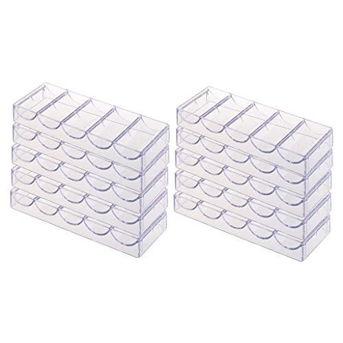 Tubayia 10 Stück Acryl Poker Chips Tablett Pokerchip Fach Chipablagen für 100 Chips