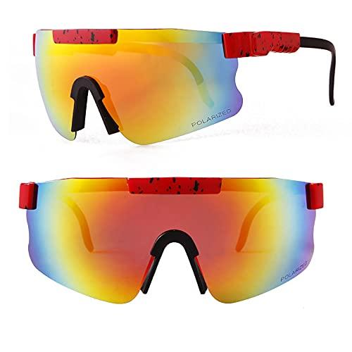 Lesinmal Gafas De Sol, Gafas Deportivas Polarizadas Gafas De Sol Gafas De Ciclismo Gafas Polarizadas, Ciclismo Correr Pesca Golf Gafas De Sol, Protección contra Rayos UV, Polvo Y Arena (A8)