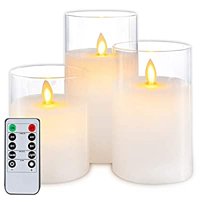 5plots Flickering Flameless Candles, Battery Operated Glass LED Pillar Candles with Remote Control and Timer, Wax, Set of 3(Pure White)