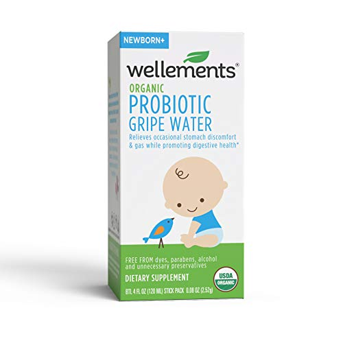 Wellements Organic Probiotic Gripe Water, 4 Fl Oz, Eases Baby's Stomach Discomfort, Digestive and Immune Support, Free From Dyes, Parabens, Preservatives