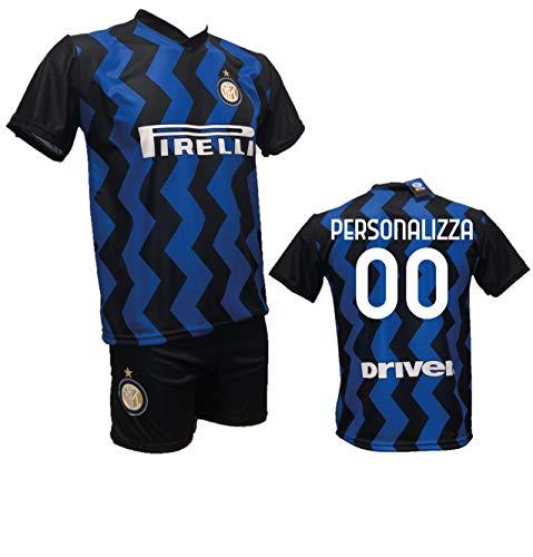 Conjunto de fútbol de camiseta del Inter - Personalizable + Pantalón corto - Réplica autorizada 2019-2020 para niños - Talla para 2, 4, 6, 8, 10, 12 años - Talla para adulto S, M, L, XL, blanco, M