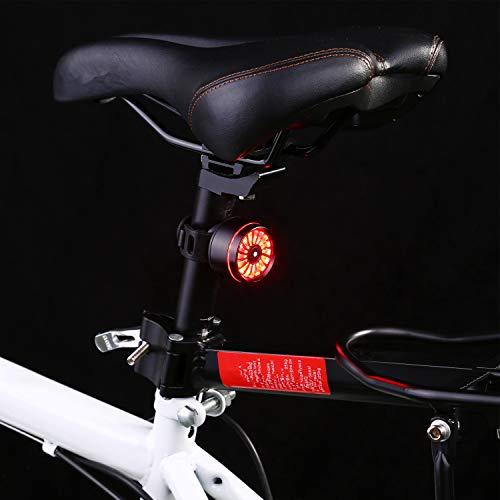 Asvert Luz Trasera de Bicicleta, LED USB Recargable, Impermeable, Advertencia, 5 Modos, luz Trasera Trasera para Bicicleta Recargable USB, Super Brillante Rojo Luz LED (Negro)