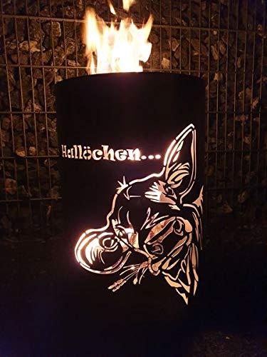 Tiko-Metalldesign Feuertonne/Feuerkorb mit Motiv Kuh-Hallöchen