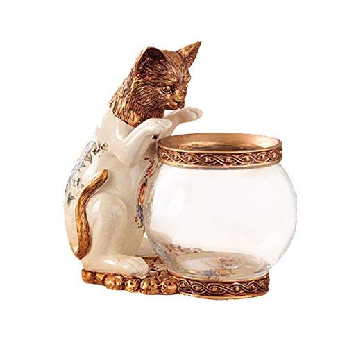 PULLEY Tanque de peces de escritorio retro para decoración de pecera pequeña y redonda de cristal, accesorios para muebles para el hogar (tamaño: 24 x 15 x 25 cm) (color: blanco)