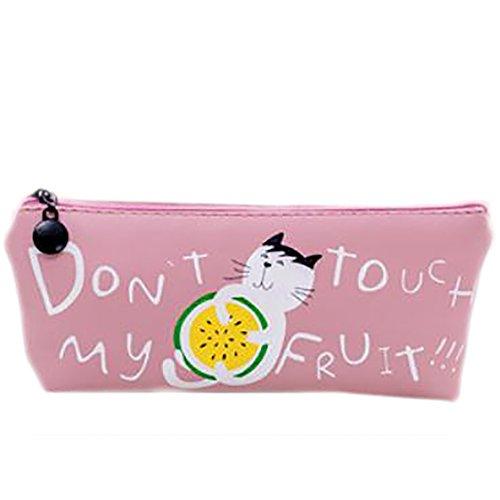 weimay Lovely Fruit Kitty Pen Brushes Maquillage Étui de motif floral Crayon Holder Bag Holder pour étudiant enfants filles – rose