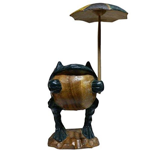(並行輸入品)アジアン雑貨 傘持ちカエルの木彫り3