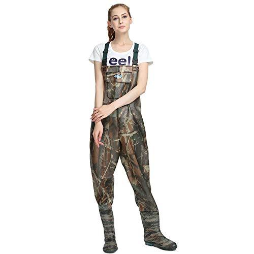 Vadeadores de Pesca Impermeable Pantalones Ropa para Hombres Mujeres con Botas Transpirable Cómodo Bib Pantalones Pesca Equipo Esencial,40