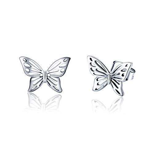 Dtja Vintage Filigree Butterfly Studs Earrings for Women Teen Girls S925 Sterling Silver Small Stud Fashion Hypoallergenic Jewelry Prime Gifts for her