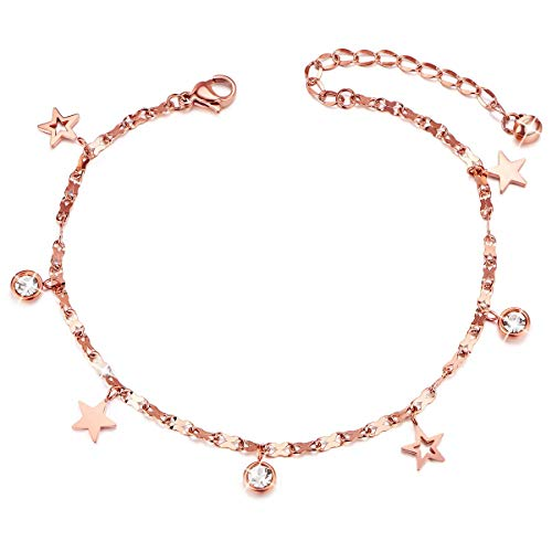 SHEGRACE Titanium Steel Anklet with Mini Stars and Cubic Zircons Rose Gold 200+50mm for Woman