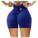 Binggong Pantalones cortos de deporte para mujer de cintura alta, con lazo, para yoga, ajustados, push up, para correr, entrenar, gimnasio, yoga, fitness, verano, pantalones de deporte