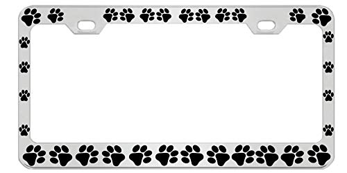 Dog Paws Heavy Duty Stainless Steel Chrome License Plate Frame Car Tag Holder …