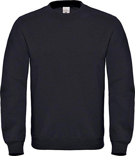 Herren-Langarm-Sweatshirt mit Rundhalsausschnitt von B&C Collection, ID. 002,Freizeitoberbekleidung Gr. XXXL, schwarz