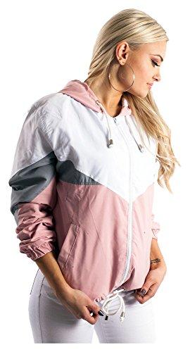 Blouson Damen Übergangsjacke Windbreaker Jacke Kapuzenjacke Colorblock Rosa S
