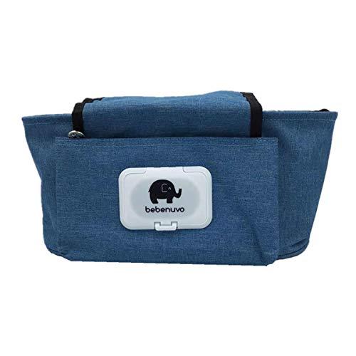 Organizador para cochecito de bebé, universal, con cremallera, accesorio indispensable para cochecito (azul marino)