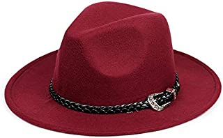 with Wide Brim Sombreros Jazz Hat for Gentleman Church Top Hat Fashion Wool Women's Men's Winter Autumn Fedora Hat (Color : Wine red)