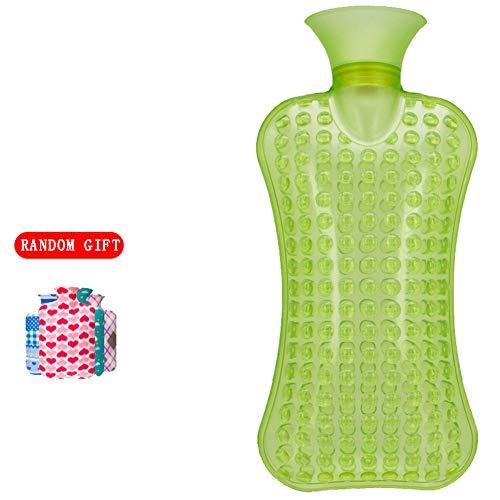GroßE Luxus-WäRmflasche, Floating-Point-Schlafkissen Mit Flanell 2l, BettwäRmer Dickes Pvc GroßE WäRmekissen,green,2L