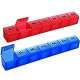 Tablettenbox 7 Tage Deutsch, SUKUOS 2X Pillendose 7 Fächer, Medikamenten-Box für 7 Tage (2 Stück - Blau/Rot)
