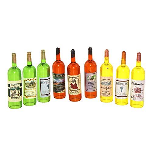 TOYHEART Accesorios De La Casa De Muñecas, 3 Piezas De Casa De Muñecas En Miniatura Jardín De Hadas Simulado Botella De Vino Tinto Vacía Juguete para Niños para Niños Color Aleatorio
