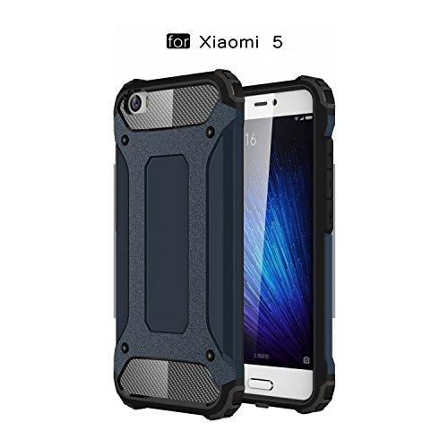 Ycloud Etui Schutzhülle für Xiaomi Mi5 Dual Layer 2 in 1 Eisenrüstung Heavy Duty Hybrid Rüstung PC + TPU Kombination Dunkelblau Tasche für Xiaomi Mi5