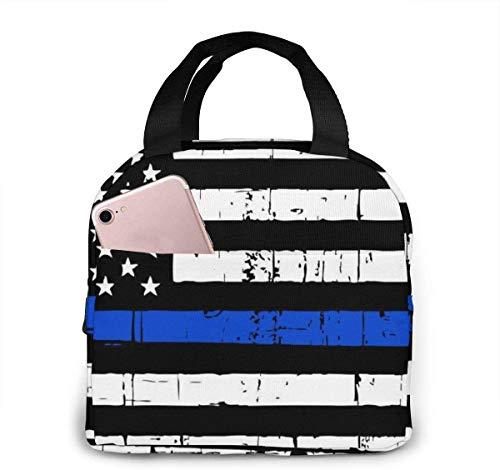 Bolsa de almuerzo con bandera de línea azul delgada apenada para mujeres,niñas,niños,bolsa de picnic con aislamiento,bolsa de asas gourmet,bolsa cálida para oficina,trabajo escolar