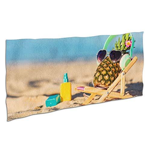 WDS6DF Toalla de baño de piña para playa de sol para adultos y niños, de gran tamaño, color blanco, absorbente y de secado rápido