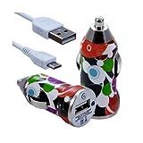 Seluxion–Cargador de coche mechero USB con cable Data para Sony Xperia SP con diseño CV12