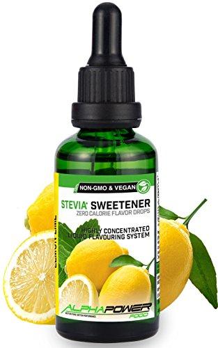 ALPHA POWER FOOD®: Stevia líquida natural - Stevia Gotas de Lima Limon, Edulcorante natural, sustituto del azúcar con sabor - sin azúcar & calorías