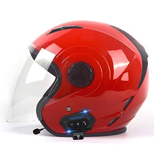 Casco Moto Bluetooth Abierto Retro Jet Half Modulares Moto Cascos Helmet para Mujer Y Hombre Confortable Casco Moto para Street Bike Cruiser Chopper Moped Scooter ECE Homologado L,XL=61~62cm