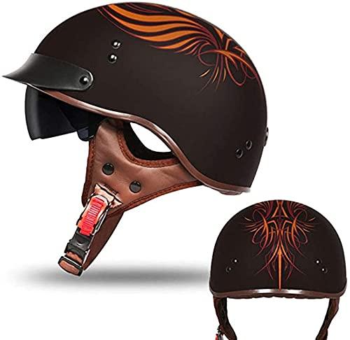 Casco retro, casco de motocicleta de cara medio abierta con visera para el sol, cascos estilo vintage con gorra de calavera para hombres y mujeres jóvenes, para motocicleta, crucero, scooter, ATV, c