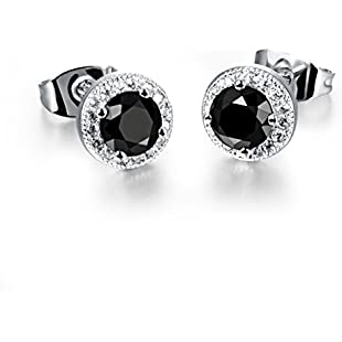 7-seas Jewellery Round-cut Halo Cubic Zirconia Stud Earrings 18K White Gold Plated Women Jewellery,Black