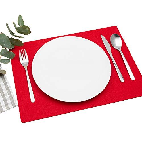 FILU Platzsets aus Filz 4er-Pack Rot eckig (Farbe und Form wählbar) 30 x 41 cm – Tischset für drinnen und draußen Deko für Esstisch im Wohnzimmer, Gartentisch/Balkontisch
