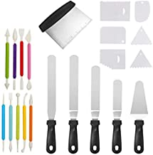 OffKits Straight & Angled Icing Spatula Cake Decorating Kit Supplies Baking Tools Stainless Steel Spatula Multifunctional Cream Decorating Scraper Stainless Steel Cake DIY