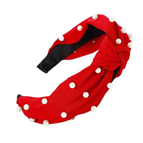YWLINK Damen Breit Haar-Stirnband mit Bördeln Haar Kopfband Mode Knoten-Haarband Einfache SüßE MäDchen Einfach Polka Dot Elegant Sport (Rot,)