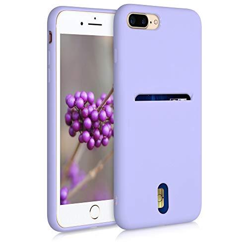 kwmobile Funda Compatible con Apple iPhone 7 Plus / 8 Plus - Carcasa de Silicona con Tarjetero y Acabado de Goma - Lavanda Pastel