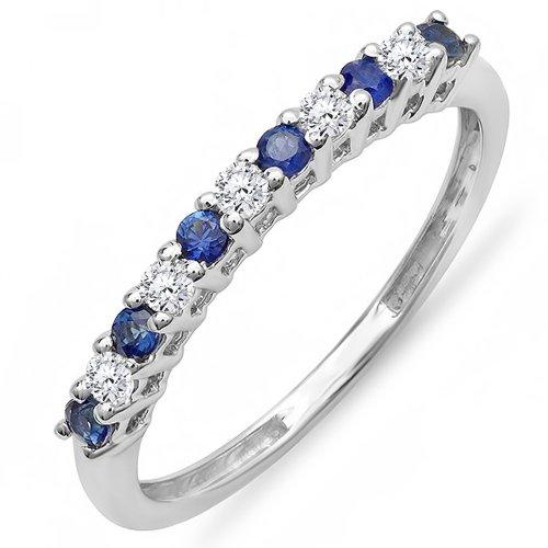 18K White Gold Round White Diamond & Blue Sapphire Anniversary Stackable Wedding...