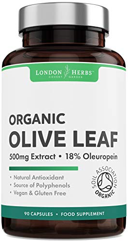 Organic Olive Leaf Extract 500mg - 90 Capsules - 18% Oleuropein - Immune System & Cardiovascular Support Supplement