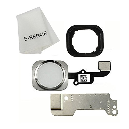 Home Button Key Flex Cable Assembly with Rubber Ring Replacment Part for iPhone 6 and 6 Plus (Silver)