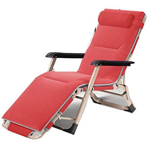 Fauteuil Relax avec Coussin,Chaise Pliante de Bureau, Chaise de Soleil Portative Zéro Gravité, Adaptée Au Salon Terrasse Meubles de Jardin Chaise de Camping-Rouge