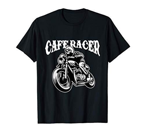 Cafè Racer Biker Skull Rider Wheelie Motorcycle Maglietta