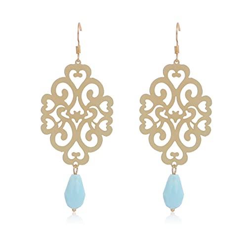 SALAN Pendientes Colgantes De Oro De Cobre Ahuecados para Mujer, Pendientes Colgantes Vintage, Colgante De Cristal Azul Cielo, Joyería De Moda