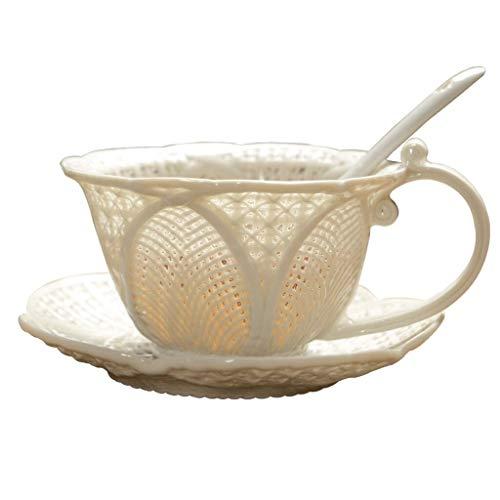 Ensemble de tasse à café Tissés à la main creuse en céramique Tasse à café en céramique simple à double isolation Coupe Tissés à la main Tasse à café personnelle thé