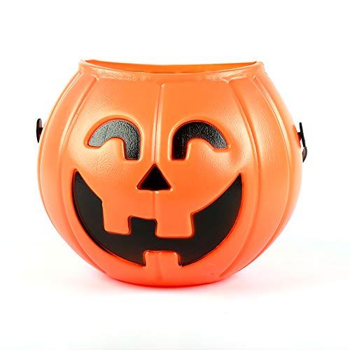 Secchio Portatile Zucca Zucca Secchio Candy per Bambini Dolcetto o Scherzetto Borse per bomboniere (Arancione) 1PCS
