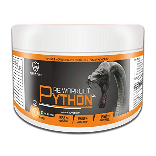 Muscle Punch Python Jr. Pre-Workout with 2 Masks Free (Orange, 30 Servings)