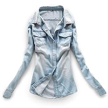 AvaCostume Women s Long Sleeve Double Pocket Slim-fit Jean Denim Shirt LightBlue M