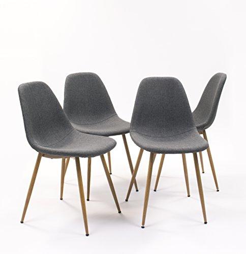 Pack de 4 sillas de Comedor Cairo tapizada en Tela,con Patas de Metal símil Madera