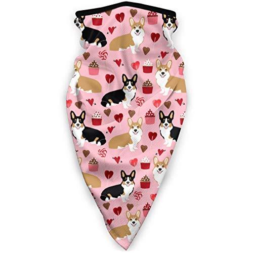 YTGQ4PT Corgis - Mascarilla de tres colores para San Valentín con diseño dulce de pasamontañas y máscara deportiva a prueba de viento para mujeres y hombres