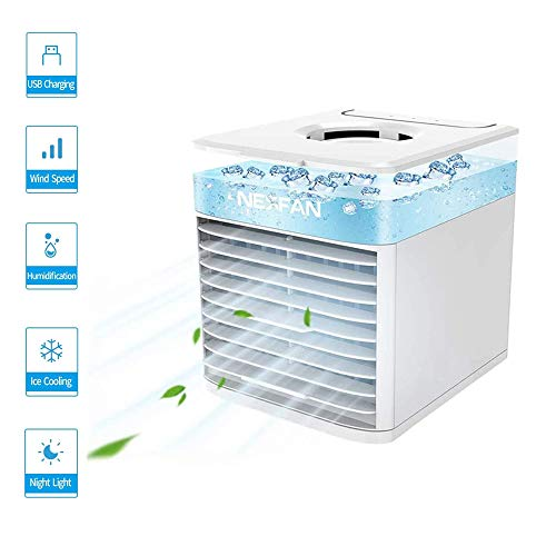 Mobile klimageräte, GHONLZIN Mini Air Cooler, 4 in 1 Klimaanlage, Luftbefeuchter und Luftreiniger, USB mini luftkühler mit wassertank, 7 LED-Leuchten für Zuhause und Büro