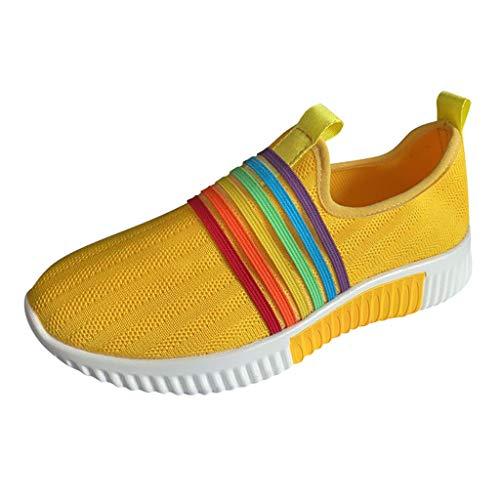 YWLINK Damen Socken Schuhe Outdoor Regenbogen Schuhe Freizeit Slip On Bequeme Sohlen Sports Atmungsaktiv Mesh Sneakers Laufschuhe Turnschuhe Fitnessschuhe (Gelb, Numeric_37)