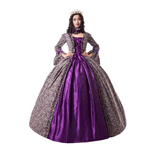 QFYZYZ Womens Middeleeuwse Victoriaanse Fancy Jurken met Crinoline Palace Royal Masquerade Vintage Kostuum
